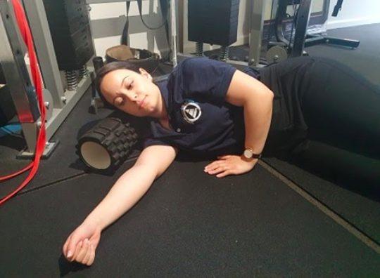 Sleeper stretch shoulder step 2